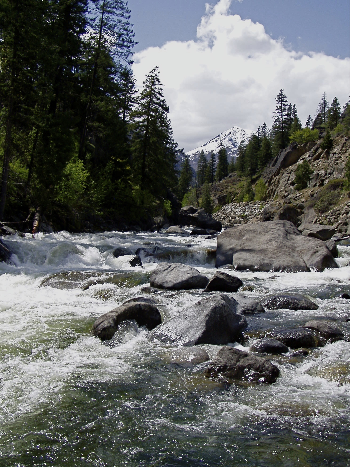 Icicle Creek in Leavenworth. Flowing water over rocks in the foreground. Trees and a mountain the the background.
